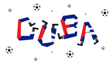 Football World Flag On Funny Alphabet Set :  Vector Illustration
