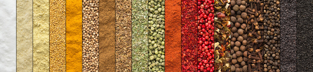 Panel Szklanycollage of spices and herbs, set colorful seasoning, background