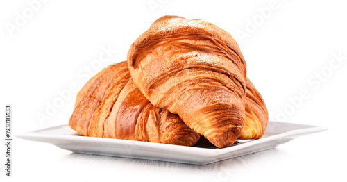 Composition with croissants isolated on white Fototapeta