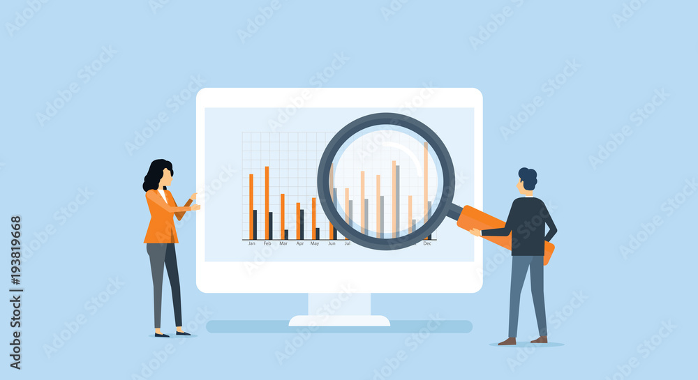 Fototapeta flat business people analytics and  monitoring  investment and finance report graph on monitor concept