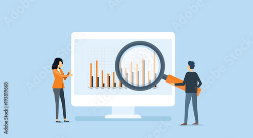 Fotografía flat business people analytics and  monitoring  investment and finance report gr