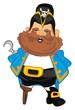 pirate, robber, illustration, cartoon, hook, icon, wooden,
