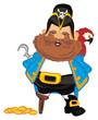 pirate, robber, illustration, cartoon, hook, icon, wooden, bird, parrot, money