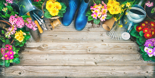 Printed kitchen splashbacks Garden Frühling, Garten, Gartenarbeit, Gartenwerkzeug, Blumen, Hintergrund