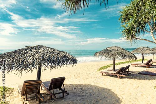 Obraz Łóżka plażowe z parasolami na tropikalnej plaży na Sri Lance - fototapety do salonu