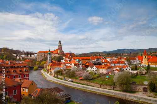 Papiers peints Prague Aerial view of old town of Cesky Krumlov witth the castle tower, Czech republic. Bright spring time.