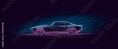 Obraz Neon illustration of muscle car. Vector.  - fototapety do salonu