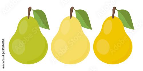Fotografia Vector pear. Set icons. Vector illustration.