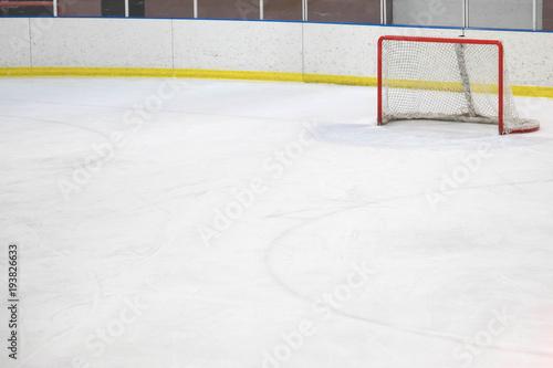 Empty net at an ice hockey rink