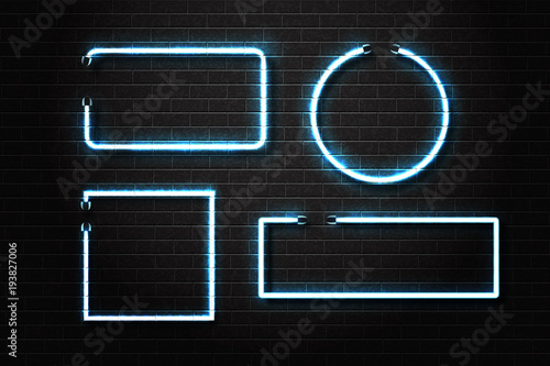 Photo  Vector set of realistic isolated neon frames for decoration and covering on the wall background