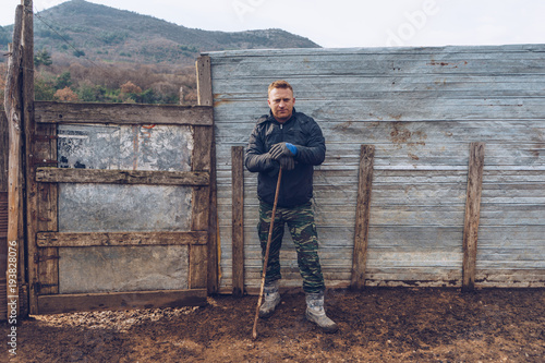 Shepherd on his farm Fototapet