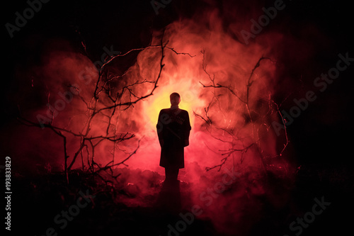 Fotografiet strange silhouette in a dark spooky forest at night, mystical landscape surreal lights with creepy man