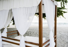Cabana With White Curtains On ...