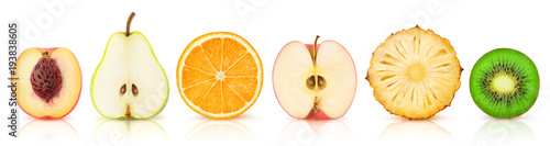 Poster Fruits Isolated fruits halves. Cut peach, pear, orange, apple, pineapple and kiwi in a row isolated on white background with clipping path