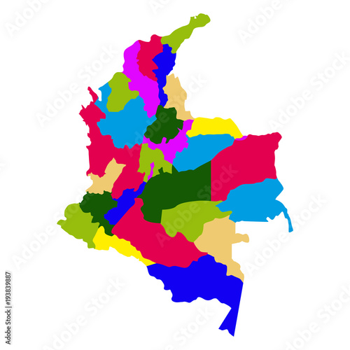 Fototapeta Political map of Colombia