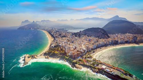 Poster Brésil Aerial view of famous Copacabana Beach and Ipanema beach