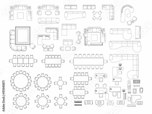 Fototapeta Top view of set furniture elements outline symbol for dining room, office, working, living room and accessories. Interior icon chair, table and sofa. obraz