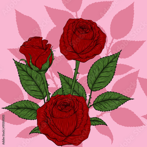 Rose Pattern By Hand DrawingRed High Detail For WallpaperFlower Seamless