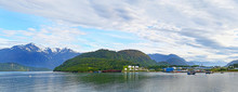 Panoramic Photo Of Coastal Town Of Puerto Chacabuco In Northern Patagonia, Chile. Two Photo Stitch.