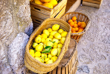Fresh Ripe Lemons On A Market ...