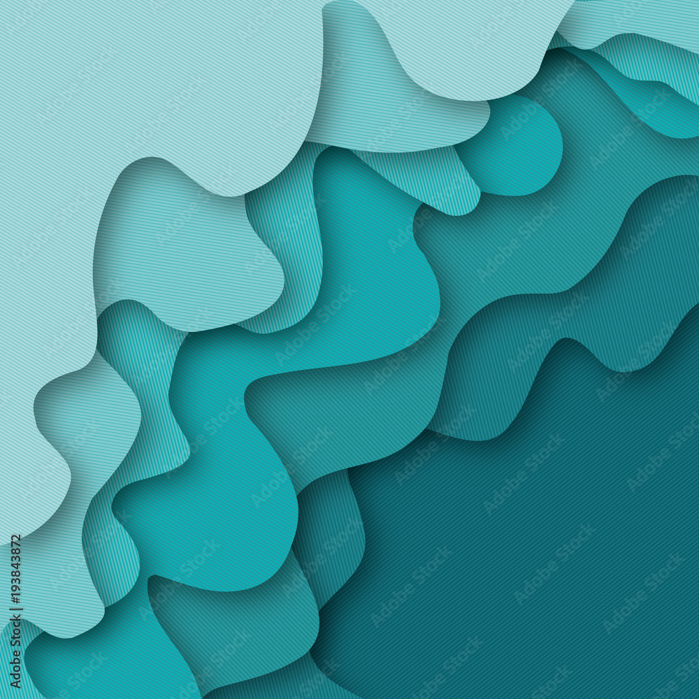 3D abstract background. Layer color wavy paper. Vector illustration