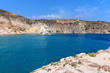 Rocky coast of Milos island, Firopotamos bay. Cyclades, Greece.