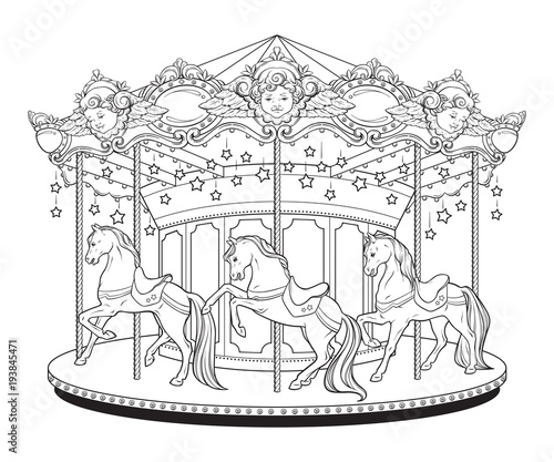 Photo Carousel La Belle Epoque cute merry go round with horses coloring book pages for