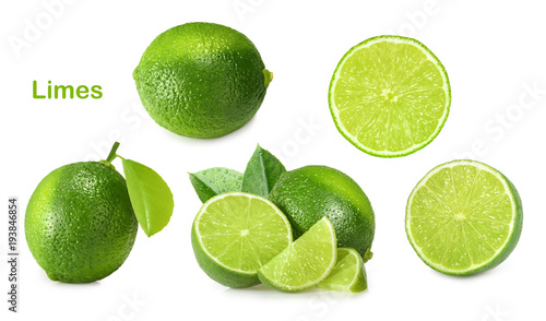 Valokuvatapetti Lime isolated on white background
