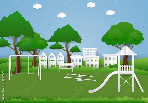 Deurstickers Groene Children playground outdoor, Paper art background paper cut illustration