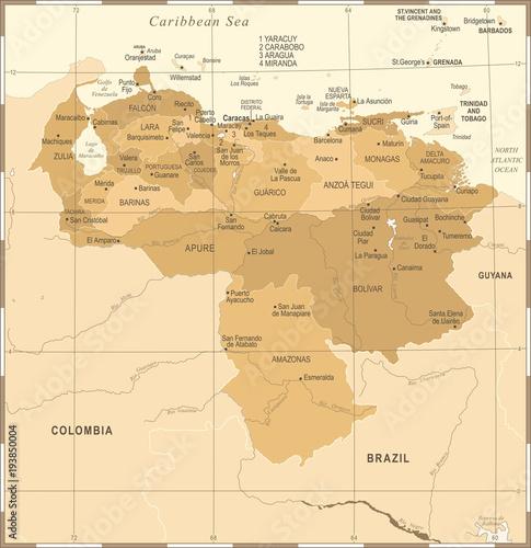 Cuadros en Lienzo Venezuela Map - Vintage Detailed Vector Illustration
