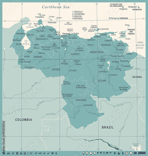 Obraz na plátne Venezuela Map - Vintage Detailed Vector Illustration