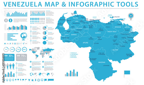 Fotografia, Obraz Venezuela Map - Info Graphic Vector Illustration