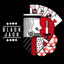 Black Jack Heart King Cards Ch...