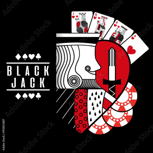 Foto black jack heart king cards chip black background vector illustration