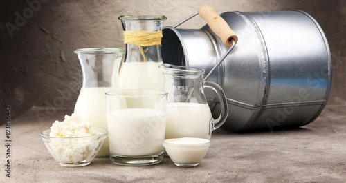 Aluminium Prints Dairy products milk products. tasty healthy dairy products on a table on