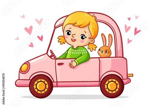 Staande foto Cartoon cars Girl with a rabbit is riding a pink car. Cute vector illustration of children's cartoon style.