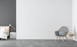 Leinwanddruck Bild - Minimal style  living room and bedroom 3d rendering image.There are concrete floor,white and gray wall.Finished with white bed and gray fabric lounge chair.