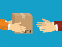 Receiving Package From Courier To Customer. Delivery Concept. Fl