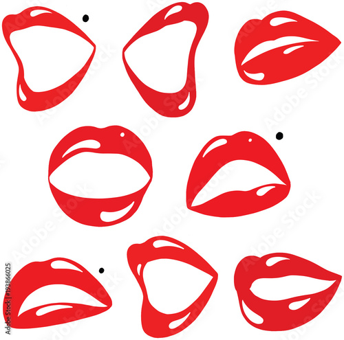 Photo  Sexy Red Lips and Mouth Cartoon Vector Collection