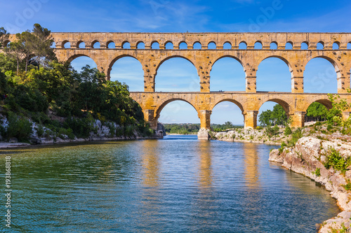 Fotografie, Obraz Three-storied aqueduct of Pont du Gard in Europe
