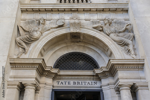 Valokuva  Architectural building fragment of Original Tate Gallery, now renamed as Tate Britain (from 1897 - National Gallery of British Art)