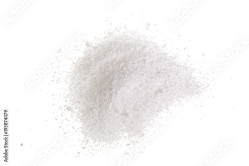 Vászonkép  Washing powder isolated on white background. Top view. Flat lay
