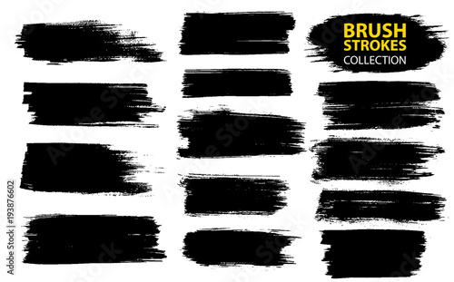 Photo Vector large set different grunge brush strokes.
