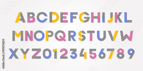 Fotografie, Obraz Vector trendy cheerful alphabet font and numbers