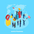 people in business suits perform various activities related to the business world, an isometric image