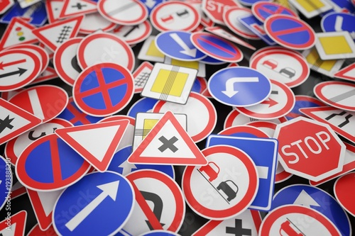 Background of many road signs. 3D rendered illustration.