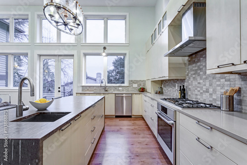 Contemporary white kitchen with high-end kitchen appliances - Buy ...