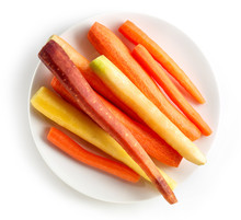 Plate Of Fresh Colorful Carrots