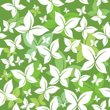 Seamless Green Butterfly Pattern Vector Design
