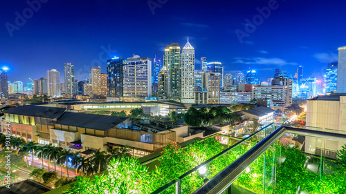 Photo  Eleveted, night view of Makati, the business district of Metro Manila